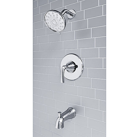 Polished Chrome Ladera 1-Handle Tub & Shower, Complete With Valve - 8P8-WS2-LRSC - 5