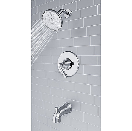 Polished Chrome Ladera 1-Handle Tub & Shower, Complete With Valve - 8P8-WS2-LRSC - 6