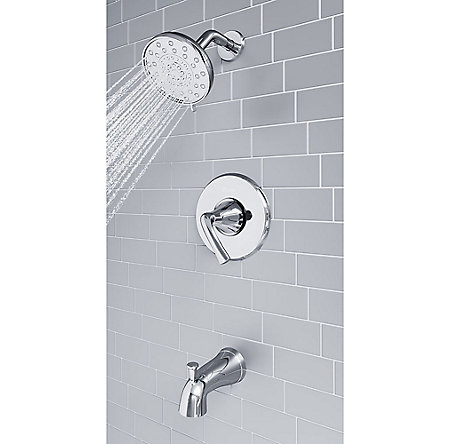 Polished Chrome Ladera 1-Handle Tub & Shower, Complete With Valve - 8P8-WS2-LRSC - 7