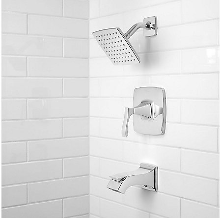 Polished Chrome Venturi 1-Handle Tub & Shower, Complete with Valve - 8P8-WS2-VNSC - 2