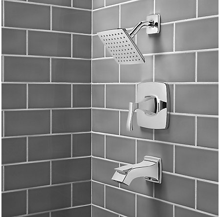 Polished Chrome Venturi 1-Handle Tub & Shower, Complete with Valve - 8P8-WS2-VNSC - 3