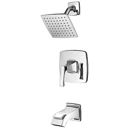 Polished Chrome Venturi 1-Handle Tub & Shower, Complete with Valve - 8P8-WS2-VNSC - 1