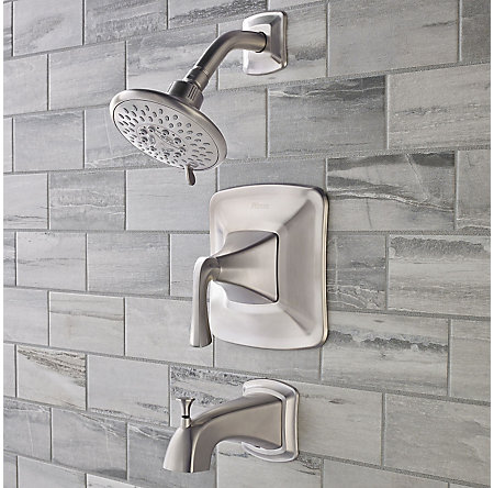Brushed Nickel Selia 1-Handle Tub & Handshower, Complete With Valve - 8P8-WS-SLSK - 3