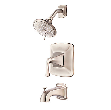 Brushed Nickel Selia 1-Handle Tub & Handshower, Complete With Valve - 8P8-WS-SLSK - 1
