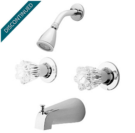 Polished Chrome Pfister Series 2-Handle Tub & Shower, Complete with Valve - 03-618 - 1