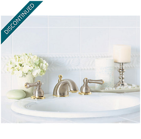 Brushed Nickel / Polished Brass Georgetown Widespread Bath Faucet - 049-BPXK - 2