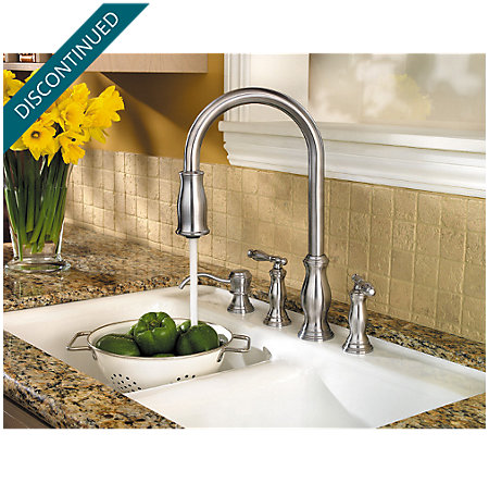 Stainless Steel Hanover 2-Handle, Pull-Down Kitchen Faucet - 531-4TMS - 4