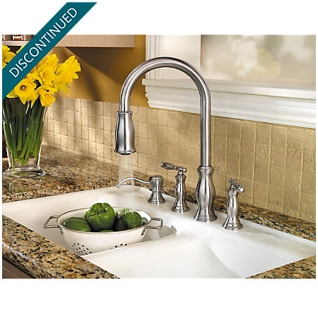 Stainless Steel Hanover 2-Handle, Pull-Down Kitchen Faucet - 531-4TMS - 5