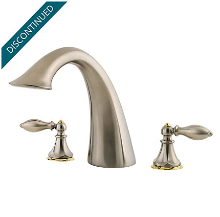 Brushed Nickel / Polished Brass Catalina 3-Hole Roman Tub, Complete With Valve - 806-EPBK - 1