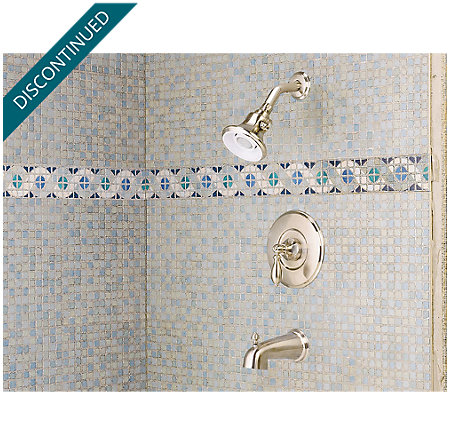 Brushed Nickel Catalina 1-Handle Tub & Shower, Complete with Valve - 808-E0BK - 2