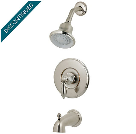 Brushed Nickel Catalina 1-Handle Tub & Shower, Complete with Valve - 808-E0BK - 1