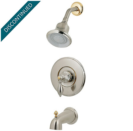 Brushed Nickel / Polished Brass Catalina 1-Handle Tub & Shower, Complete with Valve - 808-EPBK - 1
