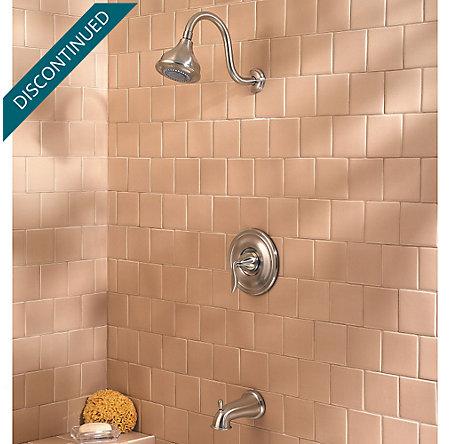Brushed Nickel Sedona 1-Handle Tub & Shower, Complete with Valve - 808-LT0K - 2