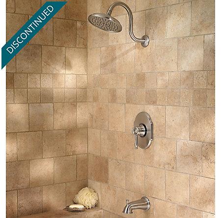 Brushed Nickel Hanover 1-Handle Tub & Shower, Complete with Valve - 808-TMKK - 3