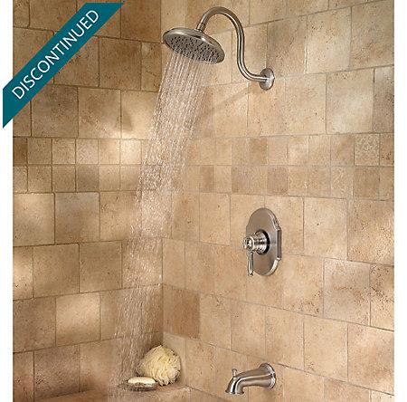 Brushed Nickel Hanover 1-Handle Tub & Shower, Complete with Valve - 808-TMKK - 4