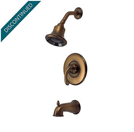 Velvet Aged Bronze Treviso 1-Handle Tub & Shower, Complete with Valve - 8P8-DV00 - 1