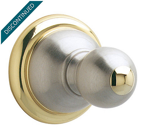 Brushed Nickel / Polished Brass Georgetown Robe Hook - BRH-B0PK - 1