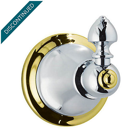 Polished Chrome / Polished Brass Catalina Robe Hook - BRH-E0BB - 1