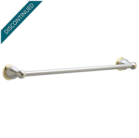 "Brushed Nickel / Polished Brass Conical 30"" Towel Bar - BTB-C3PK - 1"