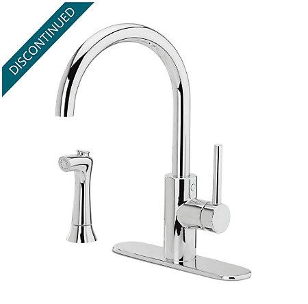 Polished Chrome Solo 1-Handle Kitchen Faucet - F-029-4SLC - 2