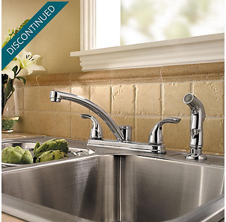 Polished Chrome Delton 2-Handle Kitchen Faucet - F-035-4THC - 2