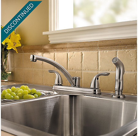 Stainless Steel Delton 2-Handle Kitchen Faucet - F-035-4THS - 2