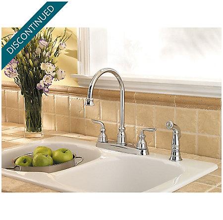 Polished Chrome Avalon 2-Handle Kitchen Faucet - F-036-4CBC - 3