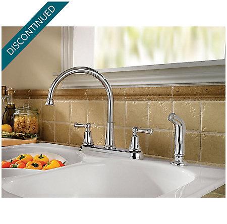 Polished Chrome Bremerton 2-Handle Kitchen Faucet - F-036-4SVC - 2