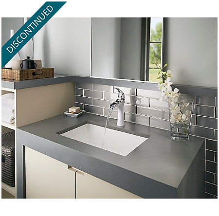 Polished Chrome / White Jaida Single Control, Centerset Bath Faucet - F-042-JDCW - 5