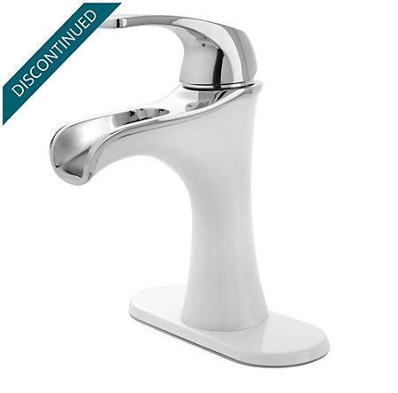 Polished Chrome / White Jaida Single Control, Centerset Bath Faucet - F-042-JDCW - 2