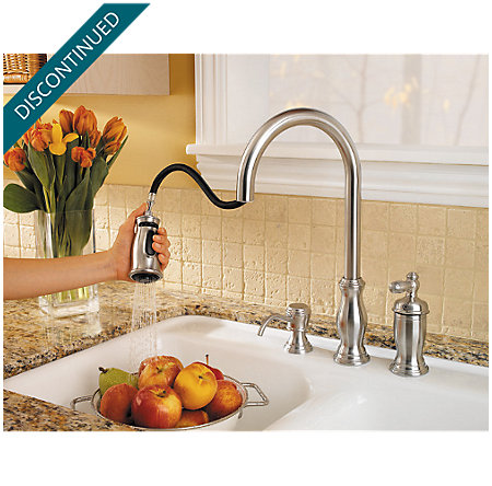 Stainless Steel Hanover 1-Handle, Pull-Down Kitchen Faucet - F-526-5TMS - 5