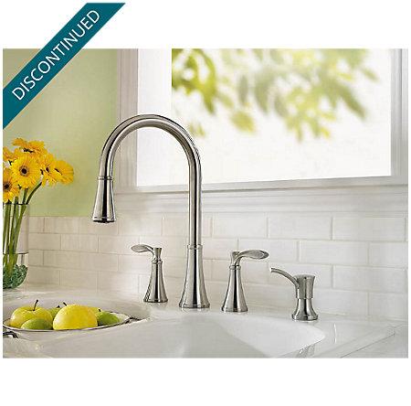 Stainless Steel Petaluma 2-Handle, Pull-Down Kitchen Faucet - F-531-4PAS - 3