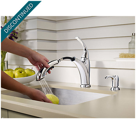 Polished Chrome Selia 1-Handle, Pull-Out Kitchen Faucet - F-534-PSLC - 5