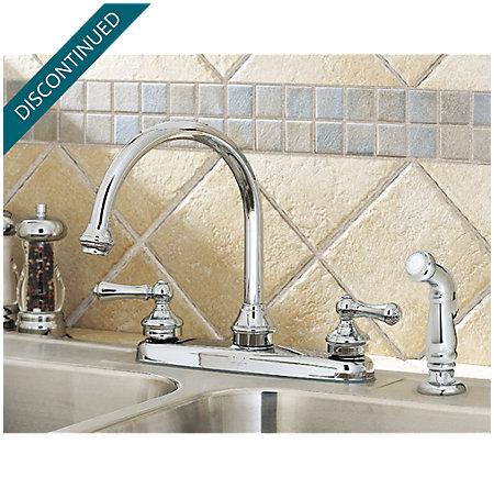 Polished Chrome Savannah 2-Handle Kitchen Faucet - F-8H6-85BC - 4