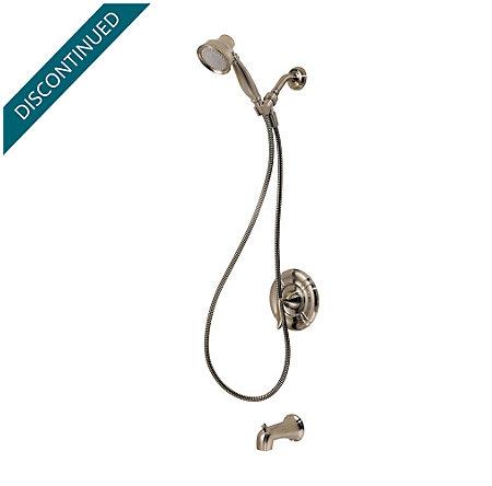 Brushed Nickel Santiago 1-Handle Tub & Handheld Shower, Complete with Valve - 8P8-STHK - 2
