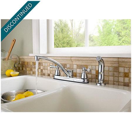 Polished Chrome Hollis 2-Handle Kitchen Faucet - F-WK2-240C - 2