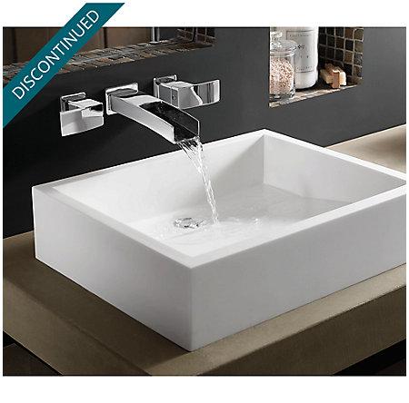 Polished Chrome Kenzo Wall Mount Widespread Trough Bath Faucet - GT49-DF1C - 2