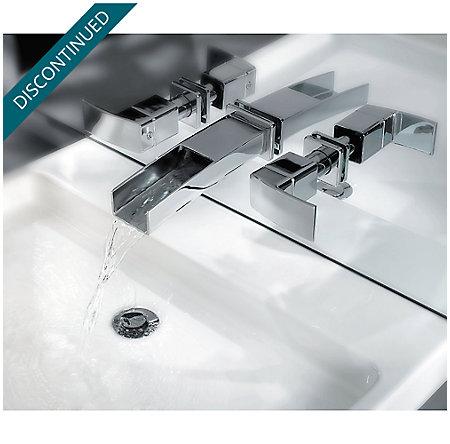 Brushed Nickel Kenzo Wall Mount Widespread Trough Bath Faucet - GT49-DF1K - 8