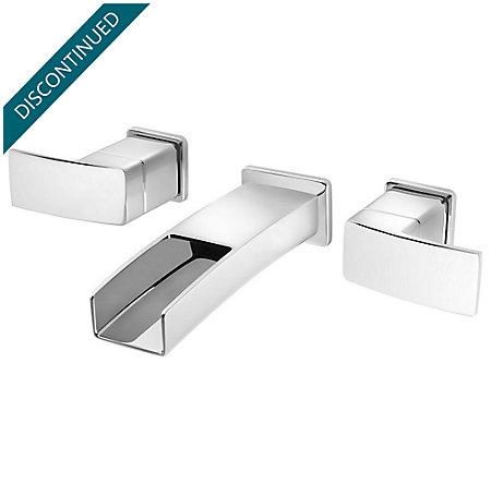 Polished Chrome Kenzo Wall Mount Widespread Trough Bath Faucet - GT49-DF1C - 1