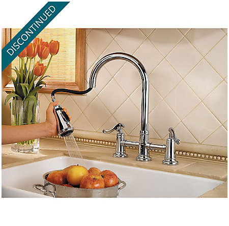 Polished Chrome Ashfield 2-Handle, Pull-Down Kitchen Faucet - GT531-YPC - 3