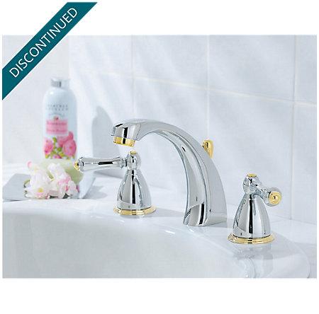 Polished Chrome / Polished Brass Parisa Widespread Bath Faucet - J49-AXMB - 2