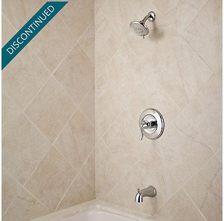 Polished Chrome Universal 1-Handle Tub & Shower, Trim Only - R90-TN2C - 2