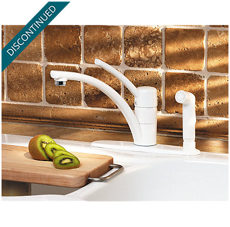 White Parisa 1-Handle Kitchen Faucet - T34-3NWW - 3