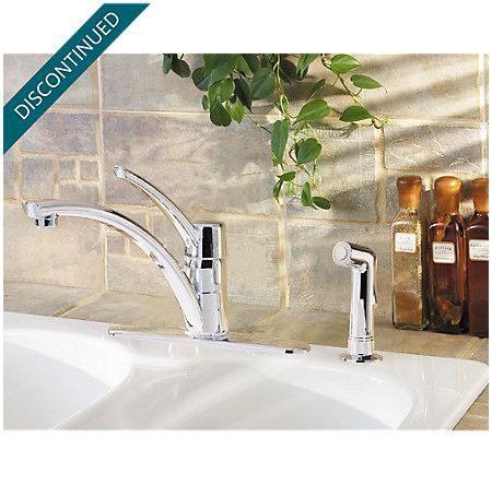 Polished Chrome Parisa 1-Handle Kitchen Faucet - T34-4NCC - 2