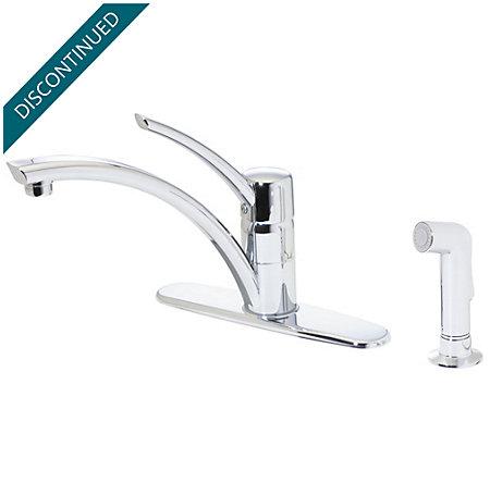 Polished Chrome Parisa 1-Handle Kitchen Faucet - T34-4NCC - 1