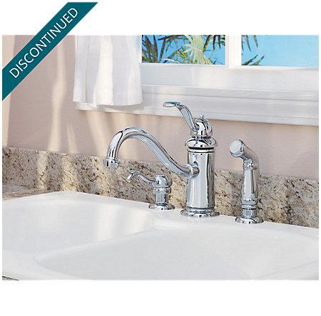 Polished Chrome Marielle 1-Handle Kitchen Faucet - T34-4TCC - 3