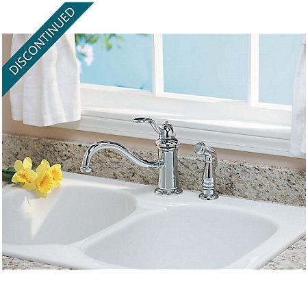 Polished Chrome Marielle 1-Handle Kitchen Faucet - T34-4TCC - 4