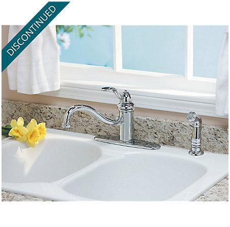 Polished Chrome Marielle 1-Handle Kitchen Faucet - T34-4TCC - 5