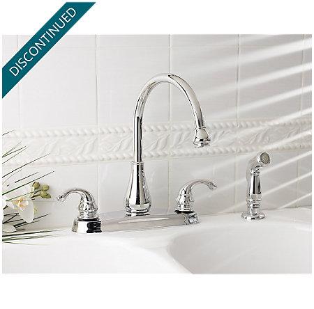 Polished Chrome Treviso 2-Handle Kitchen Faucet - T36-4DCC - 2