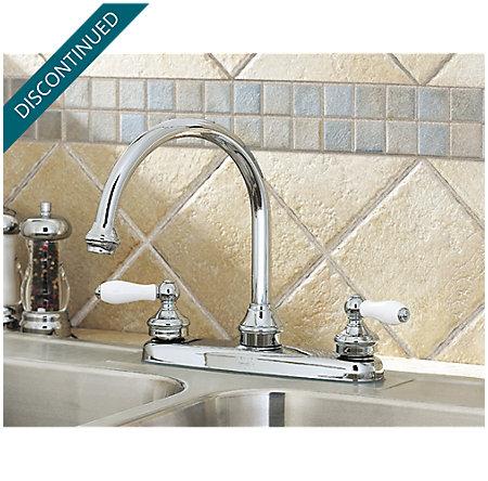 Polished Chrome Savannah 2-Handle Kitchen Faucet - T36-84PC - 2